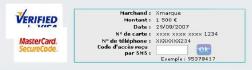 Capture d'écran du service 3D Secure